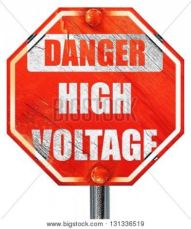 high voltage sign, 3D rendering, a red stop sign