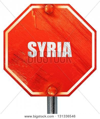 Greetings from syria, 3D rendering, a red stop sign