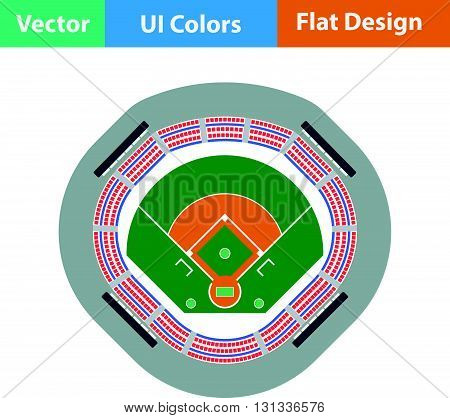 Baseball stadium icon. Flat design ui colors.. Vector illustration.