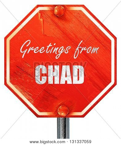 Greetings from chad, 3D rendering, a red stop sign