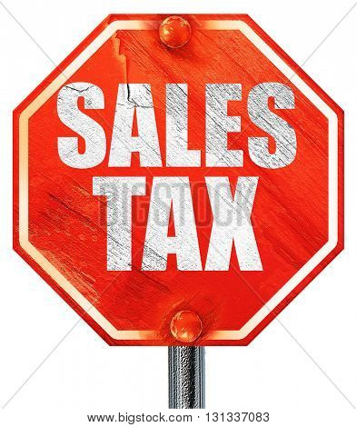 sales tax, 3D rendering, a red stop sign