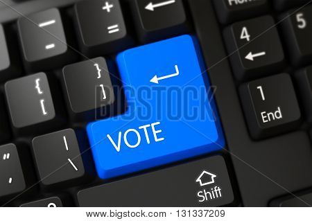 Modern Keyboard with the words Vote on Blue Button. Vote on PC Keyboard Background. Vote Concept: PC Keyboard with Vote, Selected Focus on Blue Enter Key. 3D Illustration.
