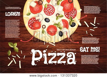 Tasty Pizza on Wood Texture. Fast Food Background. Vector illustration