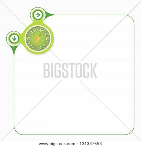 Green frame for your text and raw restaurant icon