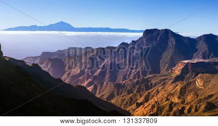 stunning view from Gran Canaria for volcano Teide in Tenerife