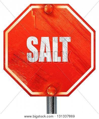 salt, 3D rendering, a red stop sign