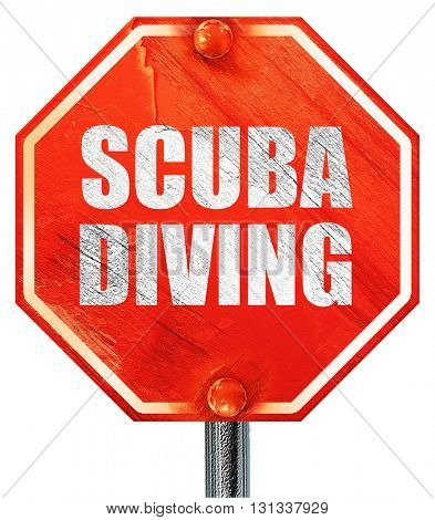 scuba diving, 3D rendering, a red stop sign