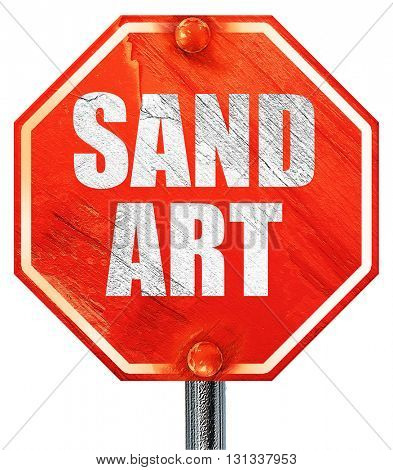 sand art, 3D rendering, a red stop sign
