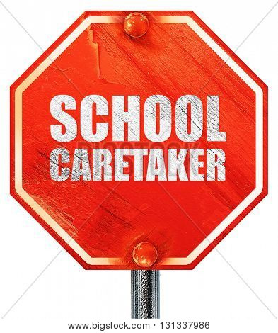 school caretaker, 3D rendering, a red stop sign
