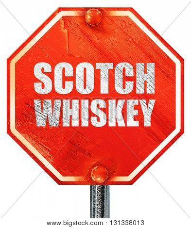 scotch whiskey, 3D rendering, a red stop sign
