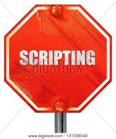 scripting, 3D rendering, a red stop sign