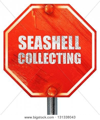 seashell collecting, 3D rendering, a red stop sign
