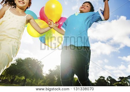 Children Friendship Playing Happiness Summer Holiday Vacation Nature Concept