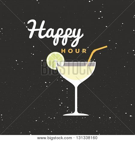 Abstract happy hour label on a special background