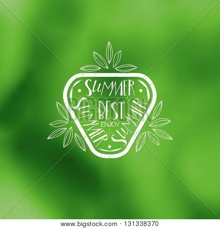 Best summer holidays vector stamp logo. Su, ,er typography sign at green background for promotions of the best tour