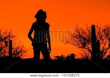 Afternoon desert hiker in the American Southwest in silhouette