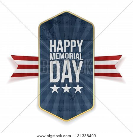 Happy Memorial Day greeting Label and Ribbon. National American Holiday Background Template. Vector Illustration.