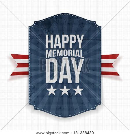 Happy Memorial Day greeting Poster and Ribbon. National American Holiday Background Template. Vector Illustration.