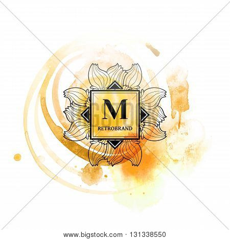 Monogram logo M with flourishes calligraphic elegant ornament elements. Identity design with letter for cafe, shop, store, restaurant, boutique, hotel, heraldic, fashion and etc.