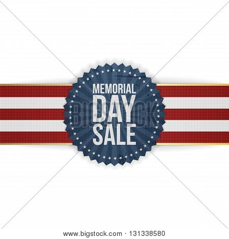 Memorial Day Sale greeting Banner and Ribbon. National American Holiday Background Template. Vector Illustration.