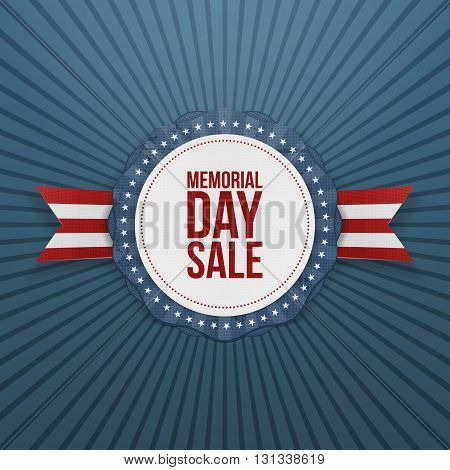 Memorial Day Sale greeting Emblem and Ribbon. National American Holiday Background Template. Vector Illustration.