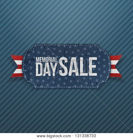 Memorial Day Sale greeting Label and Ribbon. National American Holiday Background Template. Vector Illustration.
