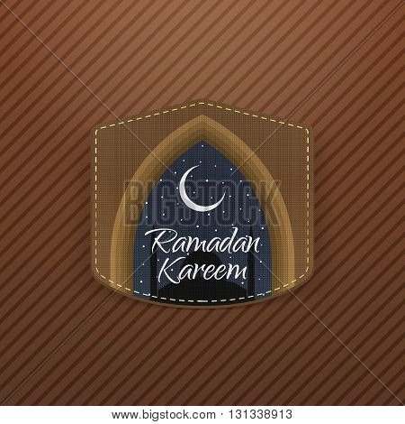 Ramadan Kareem festive Label with Ribbon. Islam Holiday Background Template. Vector Illustration