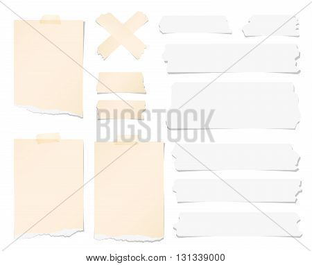 Pieces of ripped brown blank note paper, sticky, adhesive tapes are stuck on white wall.