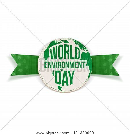 World Environment Day awareness Label and Ribbon. Ecology Background Template. Vector Illustration.