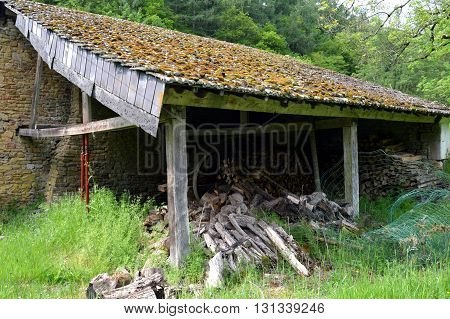 Old barn with wood in pathetic in campaign