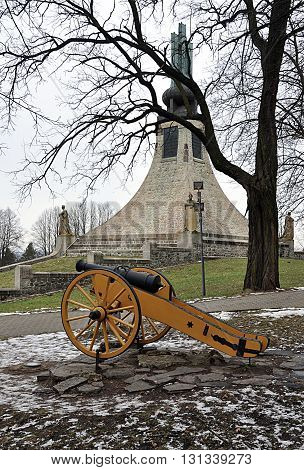 Old military cannon and Memorial, Czech Republic, Europe