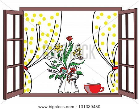 Vector illustration of a window with a curtain. Potted plant on a window sill. a cup of coffee. Vector.