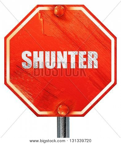 shunter, 3D rendering, a red stop sign