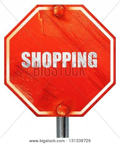 shopping, 3D rendering, a red stop sign