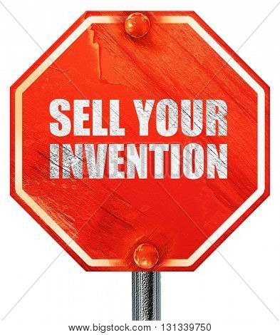 sell your invention, 3D rendering, a red stop sign