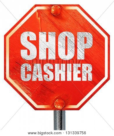 shop cashier, 3D rendering, a red stop sign