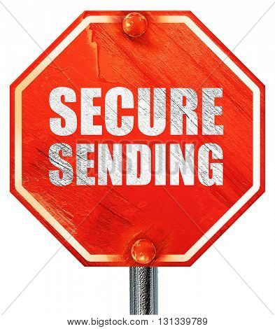 secure sending, 3D rendering, a red stop sign