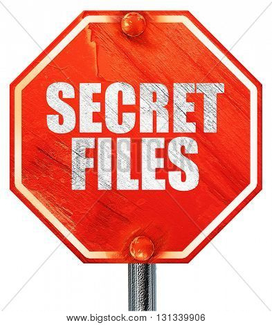 secret files, 3D rendering, a red stop sign