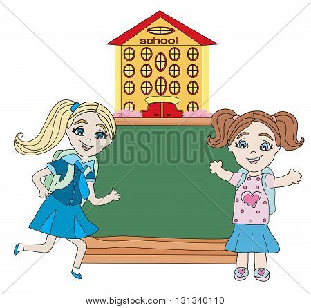 happy little girls go to school - abstract frame , vector illustration