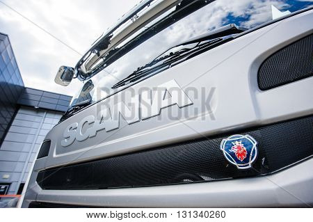 KIEV,UKRAINE - May,21 : Scania sign on truck hood against the background of blue sky low angle view in Kiev,Ukraine May 21,2016.