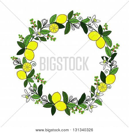 Wreath of leaves and twigs with space for text. Yellow summer fruits. Picture for scrapbooking. Painting leaves and twigs art for kitchen, wall art.