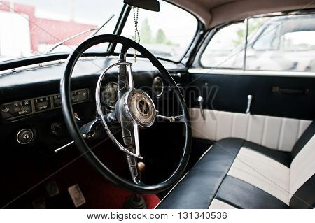 Podol, Ukraine - May 19, 2016: Dashboard And Steering Wheel Of Opel Admiral