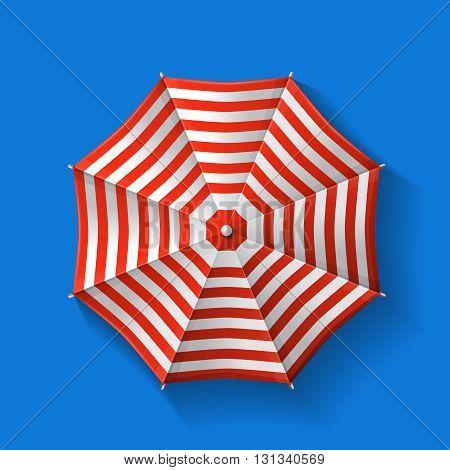 Beach umbrella top view Vector on blue background