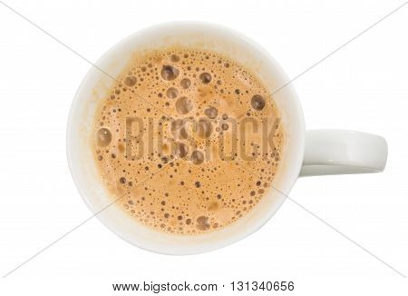 brown, bubbles cappuccino isolated on white background