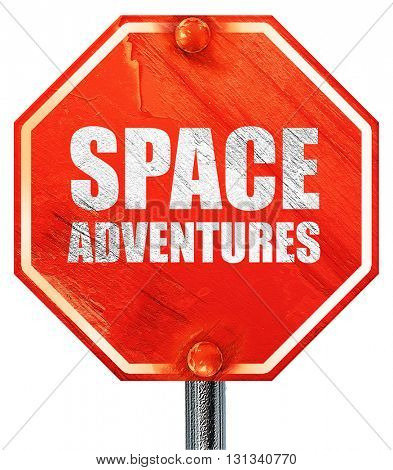 space adventures, 3D rendering, a red stop sign