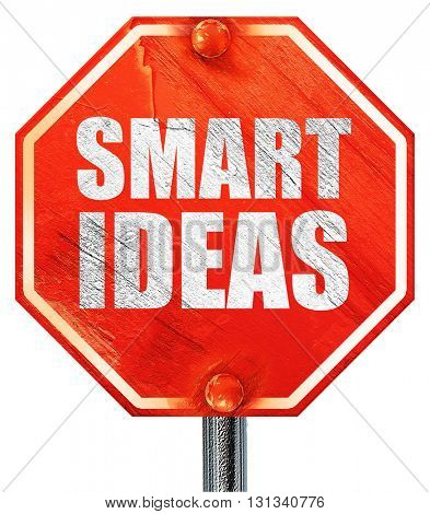 smart ideas, 3D rendering, a red stop sign