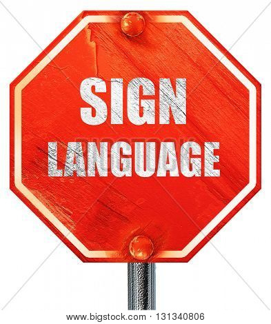 sign language background, 3D rendering, a red stop sign