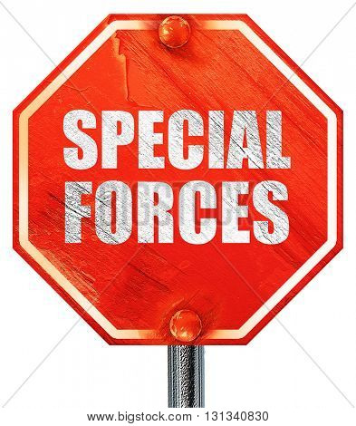 special forces, 3D rendering, a red stop sign