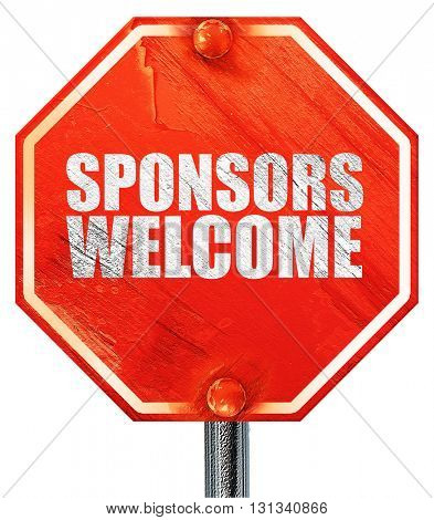 sponsors welcome, 3D rendering, a red stop sign