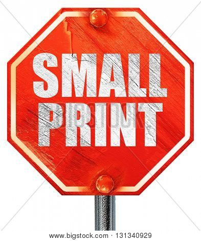 small print, 3D rendering, a red stop sign